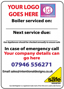personalised boiler sticker, service sticker commission sticker